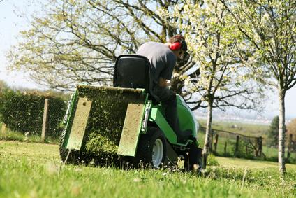 pépiniériste tond la pelouse avec une tondeuse verte